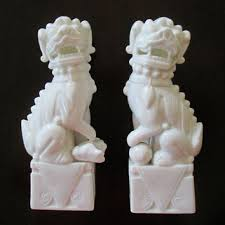 white foo dogs vintage japan foo dogs pair white from looseendsvintage on etsy