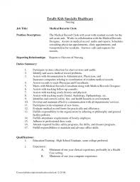 Receiving Clerk Job Description Resume by Medical Record Clerk Job Description 12751650 Supply Clerk Job