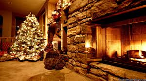 christmas fireplace decorated wallpaper