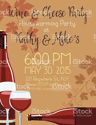 wine cheese housewarming party invitation template stock vector