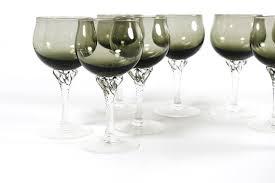 Sasaki Crystal Vase Sasaki Coronation Wine Glasses In Smoke With Twisted Crystal Stem