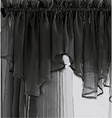 black sheer voile curtain v shaped valance