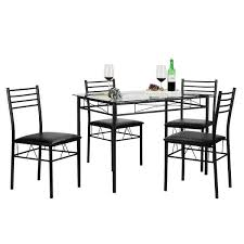 Dining Room Glass Table Sets Vecelo 5 Piece Glass Dining Table Set Glass Table And 4 Chair