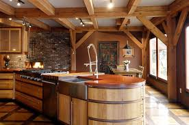 timber frame home interiors rustic timber frame kitchen with modern flare and concrete