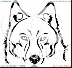 brilliant dog face clip art black and white with husky coloring
