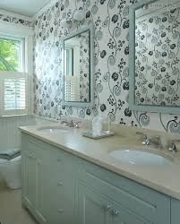 wallpaper bathroom ideas bathroom retro bathroom with floral wallpaper and white mirrors