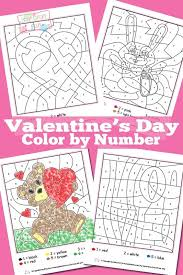 valentines day color by numbers worksheets itsy bitsy fun