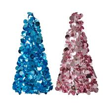 large sequin tree in blue or pink by rice dk vibrant home