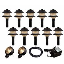 outdoor low voltage landscape lighting kits home lighting hton bay low voltage bronze outdoor integrated
