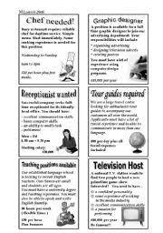 english teaching worksheets job ads