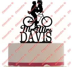 bicycle cake topper custom wedding cake topper mr and mrs a bicycle silhouette