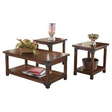 Coffee And End Table Sets Murphy Occasional Table Set Medium Brown Set Of 3 Signature