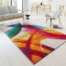 Esszimmer Teppich Designer Teppich Bunt Kunststück Picasso Brushoptik Modern Multi
