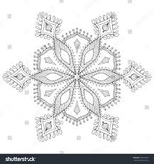 zentangle stylized winter snowflake freehand artistic stock vector