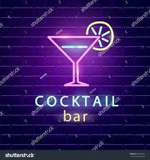 cocktail bar neon logo bright emblem stock vector 668739454