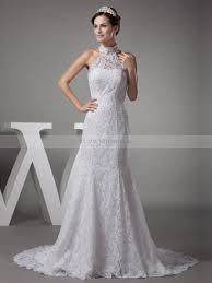 wedding dress high neck vintage high neck lace satin mermaid wedding dress