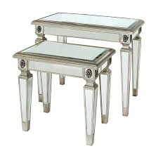 mirrored end table set shop bethel international 2 piece mirrored accent table set at lowes com