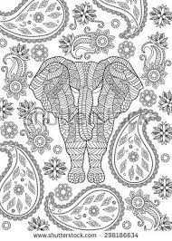 hand drawn elephant coloring stock vector 298186634