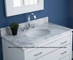 White Bathroom Vanity With Carrera Marble Top by White Bathroom Vanity With Carrera Marble Top White Bathroom