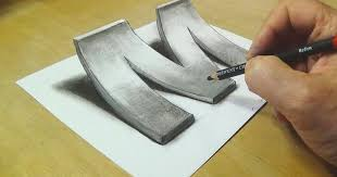 how to draw 3d letter m u2013 the art of drawing optical illusions