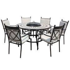 6 seater patio furniture set lg outdoor casablanca ceramic dining firepit set 6 seater