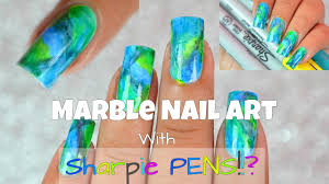 how to marble nail art using sharpie pens permanent markers youtube