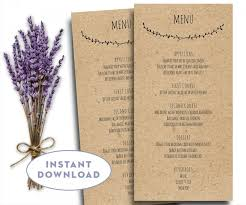 5 course menu template printable wedding menu template kraft menu template 4 x 8