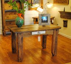Plank Desk Reclaimed Wood Wide Plank Table With Vintage Glass Door Knob