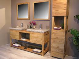 meuble en teck massif cosy 160cm 2 vasques gris