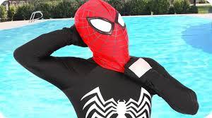 spiderman vs black spiderman fun superhero in real life frozen