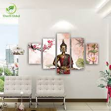 5 panel abstract printed buddha painting canvas wall art home