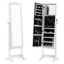 free standing jewellery armoire uk langria free standing lockable full length mirrored jewellery