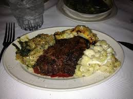 filet au gratin potatoes mac and cheese and creamed spinach