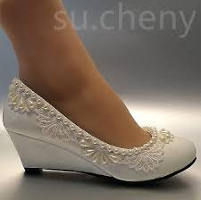 wedding shoes wedges 2 heel wedges lace white light ivory pearl wedding shoes bridal
