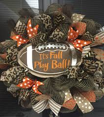 thanksgiving wreaths to make football fall wreath with fall leaves and football ribbon trendy
