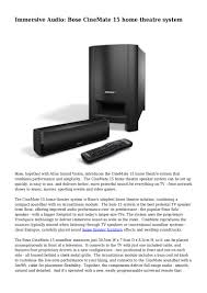 home theater system bose immersive audio bose cinemate 15 home theatre system
