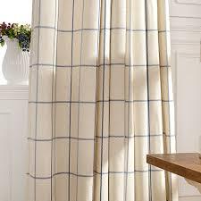 Blue Plaid Curtains Chic Cotton Linen Blue Beige Plaid Curtains