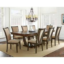 steve silver gabrielle 9 piece dining table set medium walnut