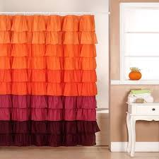 Ruffled Shower Curtains Lavish Home 72 In Ruffle Shower Curtain With Buttonhole In Orange
