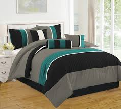 Black And Teal Comforter Bedding Turquoise And White Microfiber Reversible Down Comforter
