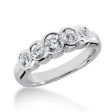 bezel ring 0 95ct five diamond anniversary ring bezel wedding band