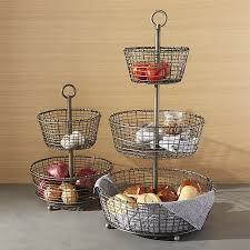 3 tier fruit basket bendt tiered iron fruit baskets crate and barrel