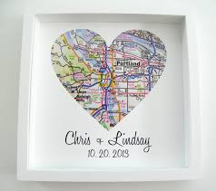 wedding gift etsy wedding gift map framed print personalized wedding gift heart