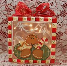 gingerbread cookies peppermint stick painted on glass block