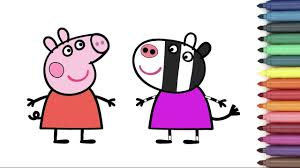 peppa pig u0026 zoe zebra coloring page for kids youtube