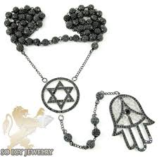black silver rosary necklace images Black silver cz jewish rosary bead chain necklace 15 00ct jpg