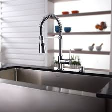 kraus kpf1612ksd30ch single lever spiral spring kitchen faucet kraus kitchen faucet series kpf1612ksd30ch lifestyle view