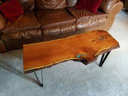 live edge table with turquoise inlay texan mesquite coffee table with turquoise inlay and live edge