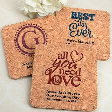 wedding coaster favors drink coasters square cork custom printed wedding