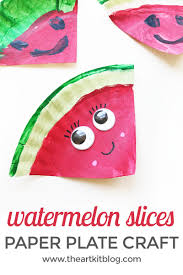 paper plate watermelon craft for kids artigianato carta e